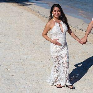 White Long Lace Maternity Dress Size Small